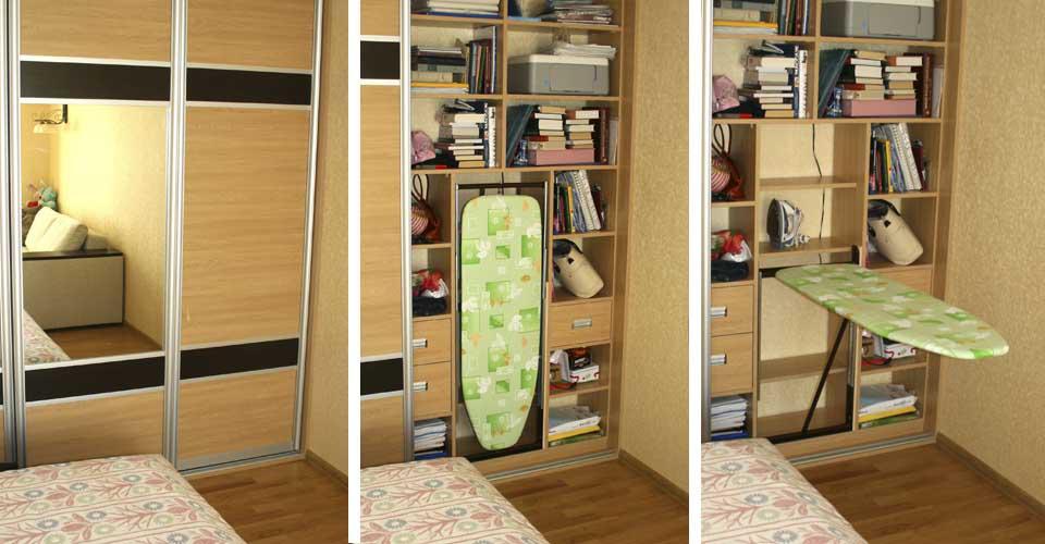 Гладильная доска в шкафу купе
