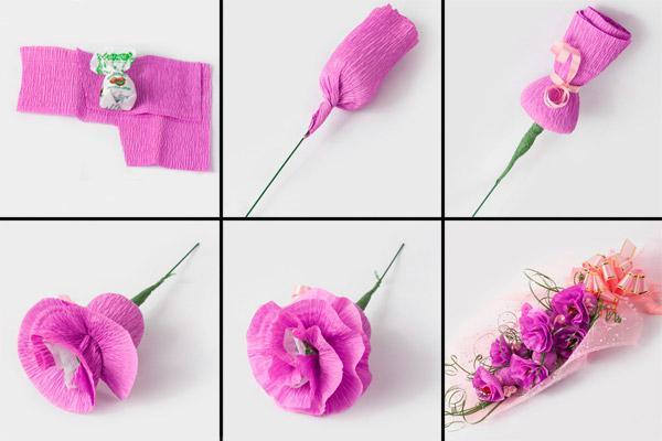 Как сделать цветок из гофрированной бумаги для конфет